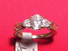 14K Solid Gold & CZ Ladies Ring Size 7