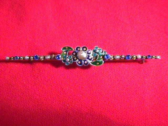 Early Victorian Bar Pin With Enamel, Sapphires & Pearls