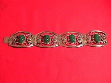 Sterling & Green Onyx Mayan Mask Bracelet