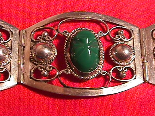 Sterling & Green Onyx Mayan Mask Bracelet