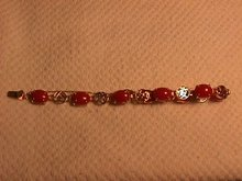 14K Solid Gold and Genuine Coral Asian Motif Bracelet