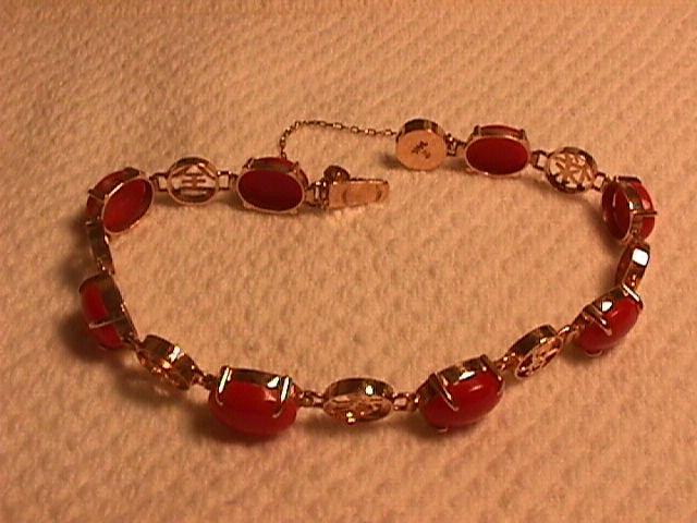 14K Solid Gold and Genuine Coral Asian Motif Bracelet