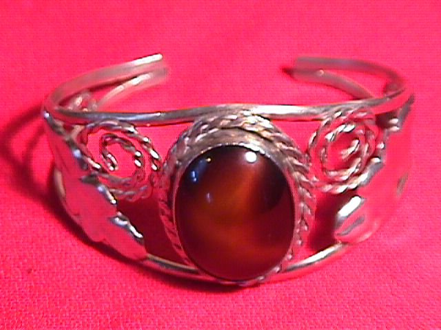 Sterling & Brown Agate ( Leaf & Rope) Bracelet