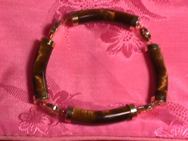 Tigereye and GoldPlate Oriental Bracelet