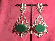 Sterling & Green Onyx Screw-Back Earrings