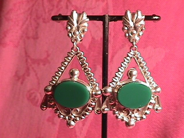 Sterling & Green Onyx Screw-Back Earrings