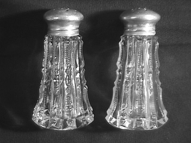 Pitkins & Brookes Cut Glass with Sterling Tops Salt & Pepper Set