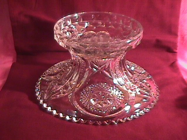Near Cut Cambridge Pressed Glass Punch Bowl Base #2636