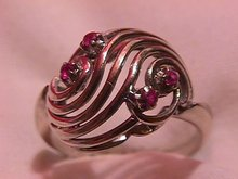 14K Solid White Gold & Ruby Ring