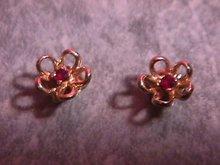 Gold & Garnet Flower Earrings