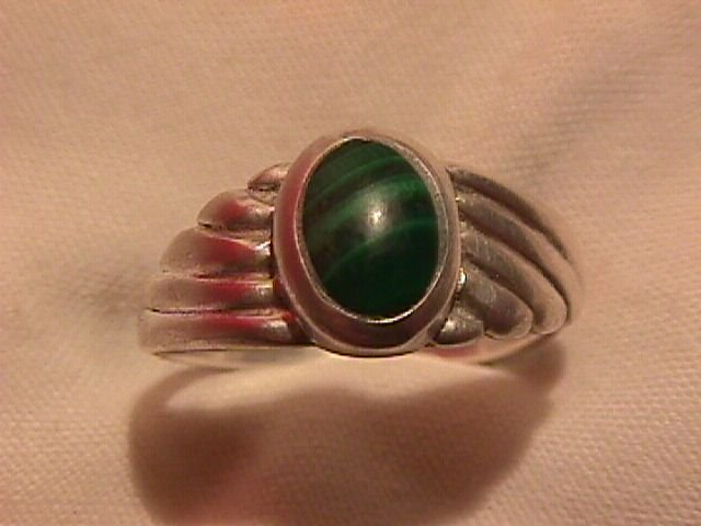 Sterling and Genuine  Malachite Wing Form Ladies Ring