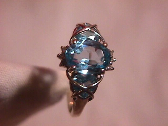 Unique 10K Solid Gold Blue Topaz Ring