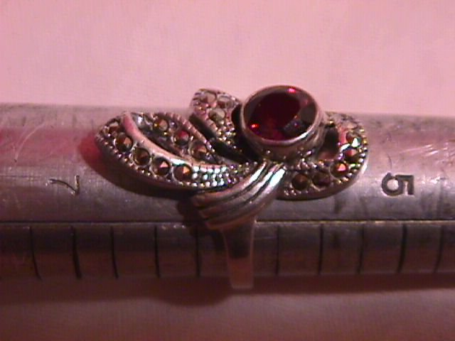 Retro Sterling Garnet and Marcasite Ring
