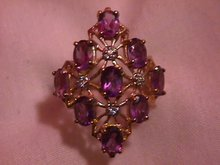 10K Solid Gold Light Amethyst & Diamond Ring