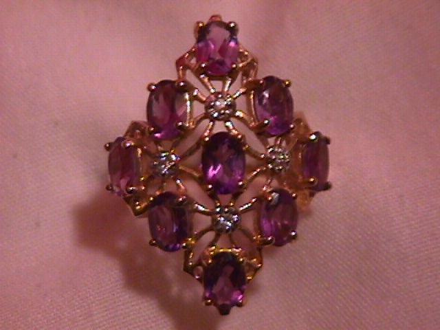 10K Solid Gold Light Amethyst & Diamond Ring