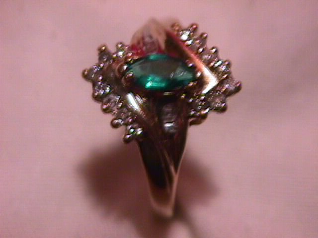 10K Gold and Diamond Ring with a Marquise Emerald