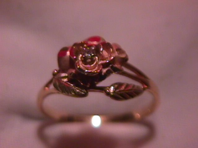 10K Solid Gold (2-Tone) Rose Diamond Ring