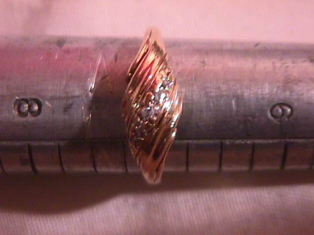 10K Solid Gold  and Diamond Swirl Style Ring