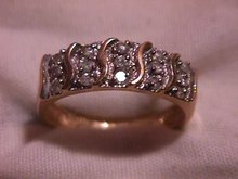14K Solid  Gold (2-Tone) and Diamond Journey Ring