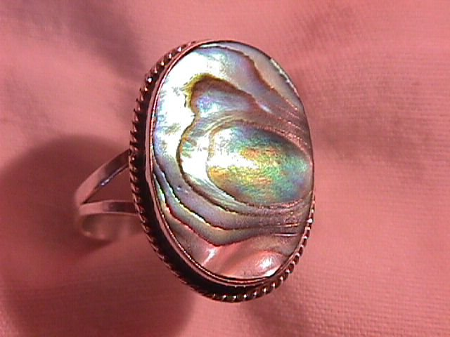 Knockout Sterling and Shell Abalone Ring (Mexico)
