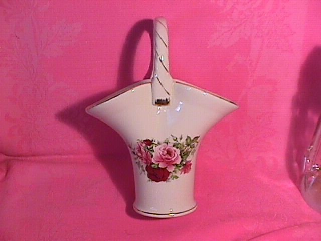 Porcelain Basket with Rose Bouquet and Gold Trim