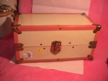 Pink & Cream Metal Trunk for Small Dolls