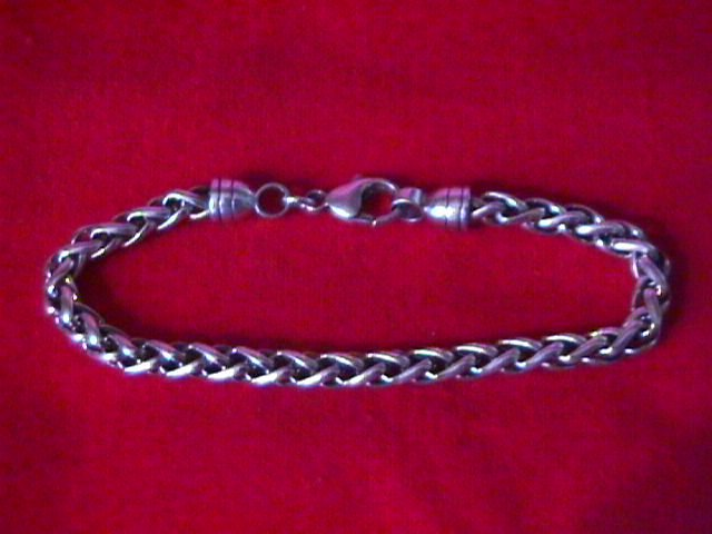 Sterling Silver Man's (Wheat-Chain) Bracelet