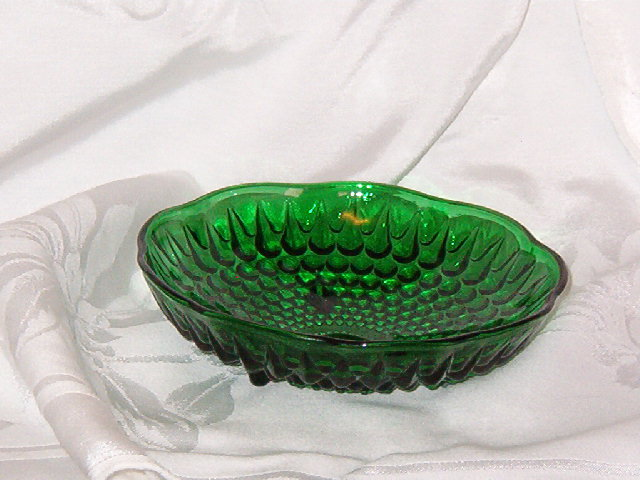 Anchor Hocking Forest Green 3 Toed Bowl