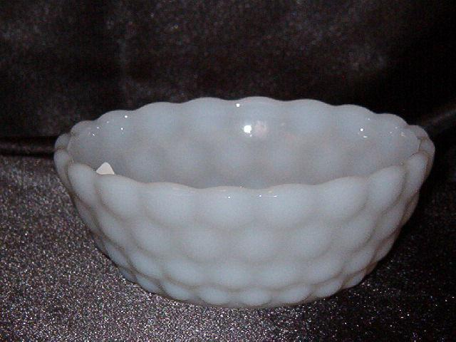 Anchor Hocking Bubble Milk Glass Fruit Bowl