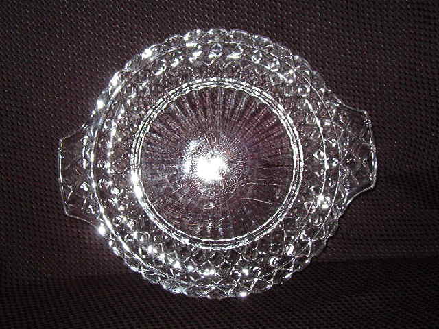 Anchor Hocking Waterford Clear  Handled Cake Plate