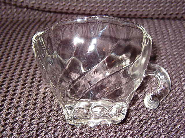 Hazel Atlas Colonial Swirl  Shell Clear Punch Cup