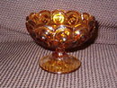 L G Wright  Amber Moon & Stars Compote