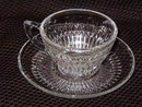 Jeannette Glass Co Anniversary Clear Cup & Saucer