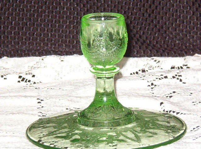 Anchor Hocking Cameo Green Single Light Candlestick