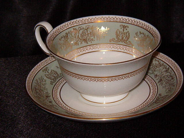 Wedgwood  Columbia  Sage Green Footed Cup & Saucer