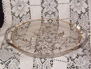 Jeannette Glass Camellia Two Handled Tray