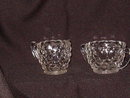 Jeannette Glass Cube Clear Creamer & Sugar