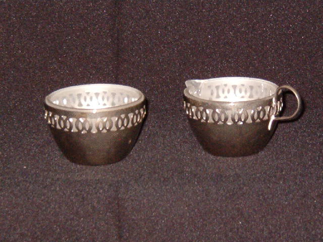 Glass Creamer & Sugar in Metal Holders Made in England