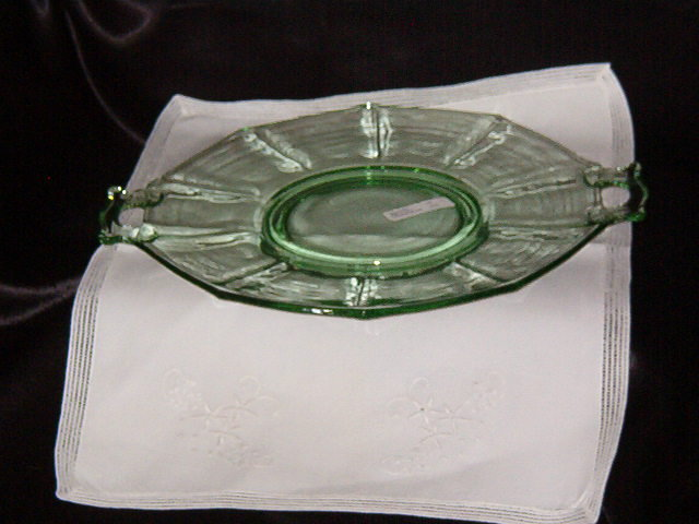 Imperial Glass Molly Lt. Green Two Handled Cake Plate