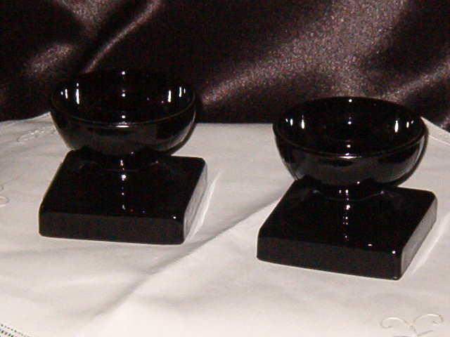 L E Smith Glass  Mt Pleasant Black Pair of Single Light Candlesticks