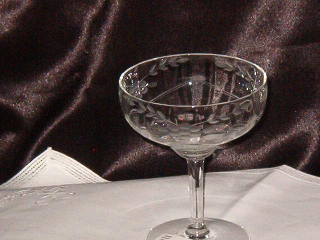 Vintage Etched Champagne Sherbet