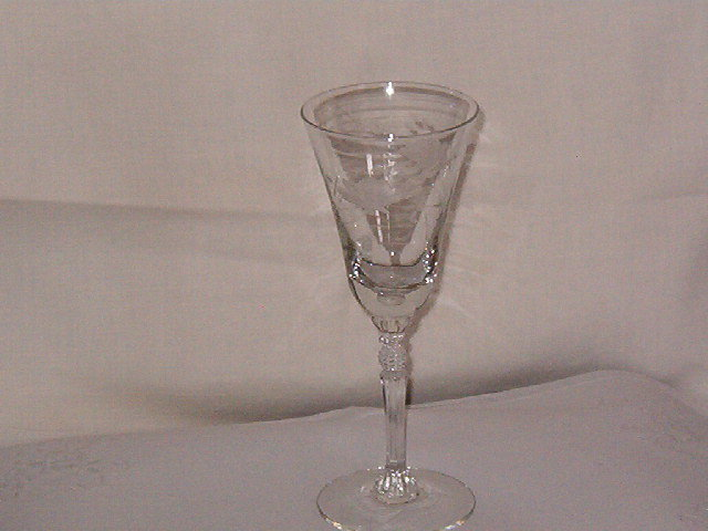 Imperial Glass  Etched Goblet