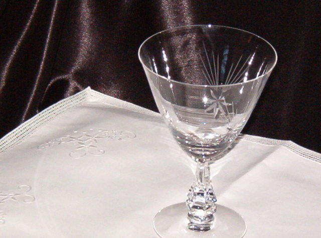 Crystal  Star Etched Stemware  Water Goblet