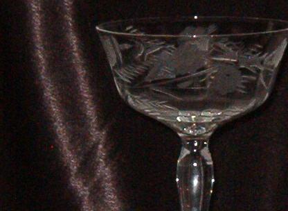 Vintage Etched Stemware  Champagne Tall Sherbet