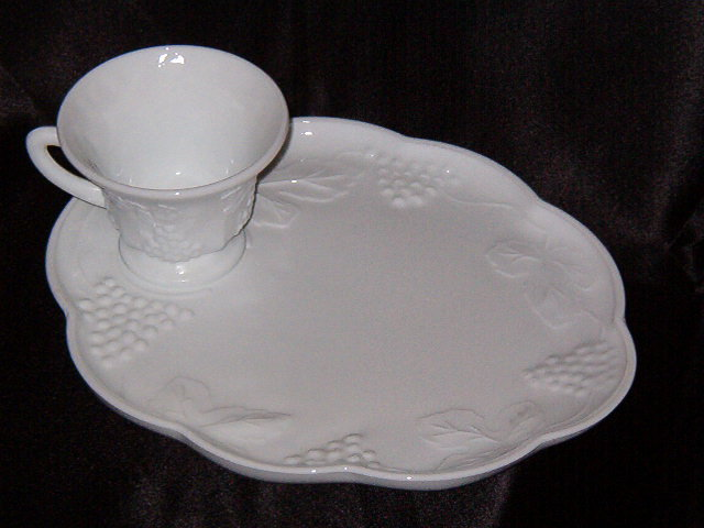 Colony Harvest Milk Glass Snack Tray w/Cup
