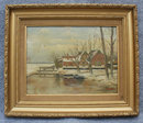 Antique Oil Painting Gold Frame Country Scene H. Bouvet