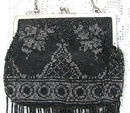 Vintage Beaded Purse, Black & Silver