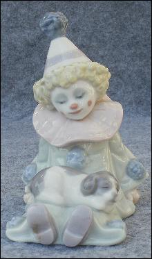Vintage Retired Llardo Porcelain Clown & Puppy, Mint Condition 1985