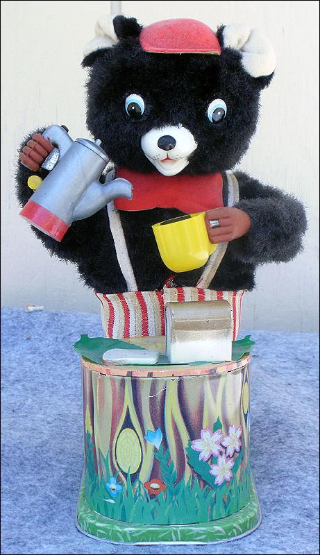 Vintage Battery Operated Maxwell Coffee Tin Bear Made in Japan