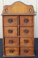 Antique Vintage 8 Drawer Oak Wood Wooden Spice Box
